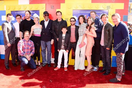 "From left to right, director Christopher Miller, director Phil Lord, actor Chris Pratt, actor Nick Offerman, actress Elizabeth Banks, actor Morgan Freeman, actor Will Arnett, actor Jadon Sand, actor Charlie Day, actress Cobie Smulders, actress Alison Brie, actor Will Ferrell, producer Daniel Lin, and producer Matthew Ashton seen at the premiere of the feature film ""The Lego Movie"" on in Los Angeles"