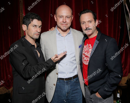 """Co-writer/director Robert Ben Garant, actor Rob Corddry and co-writer/director Thomas Lennon attend the after party for Millennium Entertainment's """"Hell Baby"""" Los Angeles Premiere at Beacher's MadhouseTheater on Monday, August, 19, 2013 in Los Angeles"""