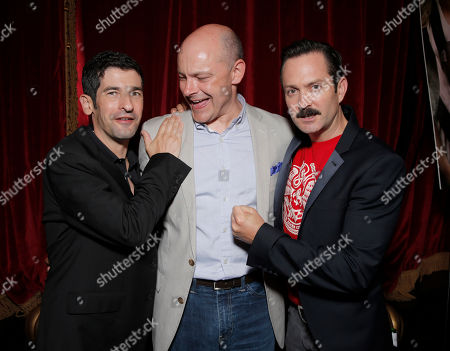 """IMAGE DISTRIBUTED FOR MILLENNIUM ENTERTAINMENT - Co-writer/director Robert Ben Garant, actor Rob Corddry and co-writer/director Thomas Lennon attend the after party for Millennium Entertainment's """"Hell Baby"""" Los Angeles Premiere at Beacher's MadhouseTheater on Monday, August, 19, 2013 in Los Angeles"""