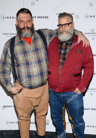 "Fashion designers Robert Tagliapietra, left, Jeffrey Costello attend a special screening of ""Night Moves"" at the Sunshine Landmark, in New York"