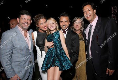 """Televisa's Fernando Perez Gavilan, Jessica Lindsey, Loreto Peralta and Eugenio Derbez, Producer Monica Lozano and Pantelion Films' CEO Paul Presburger attend Pantelion Films' """"Instructions Not Included"""" Los Angeles Premiere After Party, on Thursday, August, 22, 2013 in Los Angeles"""