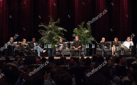Actors and actress from left to right, Michael Dorn, Martina Sirtis, Levar Burton, Patrick Stewart, William Shatner, Brent Spiner, Gates McFadden and Jonathan Frakes during the Star Trek: The Next Generation Reunion Event at the Rosemont Theatre in Rosemont, IL on