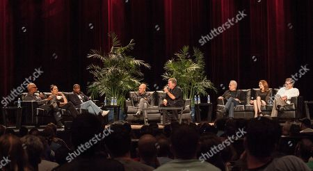 Actors Michael Dorn, Martina Sirtis, Levar Burton, Patrick Stewart, William Shatner, Brent Spiner, Gates McFadden and Jonathan Frakes during the Star Trek: The Next Generation Reunion Event at the Rosemont Theatre in Rosemont, IL on