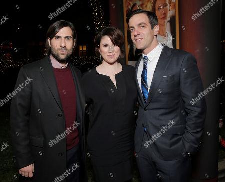 "L-R) Actors Jason Schwartzman, Melanie Paxson and B.J. Novak attend the U.S. Premiere of ""Saving Mr. Banks"", on Monday, December, 9, 2013 in Burbank, Calif"