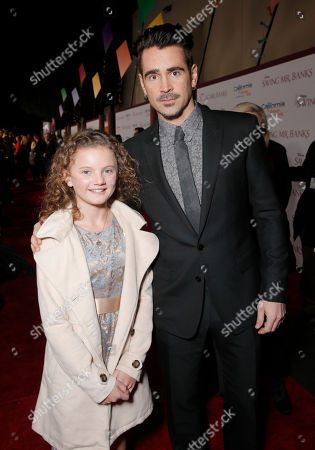 "Annie Rose Buckley and Colin Farrell attend the U.S. Premiere of ""Saving Mr. Banks"", on Monday, December, 9, 2013 in Burbank, Calif"