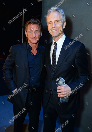 Sean Penn, left, and president of MTV and VH1 networks John Sykes attend unite4:good and Variety's unite4:humanity at Sony Pictures Studios, in Culver City, Calif