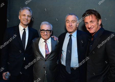 From left president of MTV and VH1 networks John Sykes, Martin Scorsese, Robert De Niro, and Sean Penn attend unite4:good and Variety's unite4:humanity at Sony Pictures Studios, in Culver City, Calif