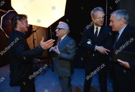 From left Sean Penn, Martin Scorsese, president of MTV and VH1 networks John Sykes, and Robert De Niro attend unite4:good and Variety's unite4:humanity at Sony Pictures Studios, in Culver City, Calif