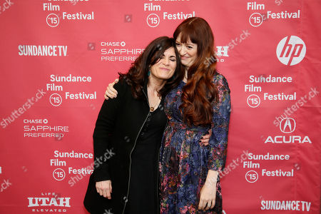 "Author Phoebe Gloeckner, left, whose book was adapted into the movie, and director Marielle Heller, right, embrace at the premiere of ""The Diary of a Teenage Girl"" during the 2015 Sundance Film Festival, in Park City, Utah"