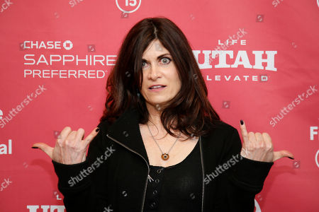 "Author Phoebe Gloeckner, whose book was adapted into the movie, poses at the premiere of ""The Diary of a Teenage Girl"" during the 2015 Sundance Film Festival, in Park City, Utah"