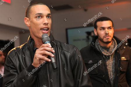 David Nelson, of the New York Jets, addresses the crowd during the 7th Annual Music Meets Couture fashion show presented by Creative Edge PR on Thursday, January, 30, 2014 at Maserati of Manhattan in New York