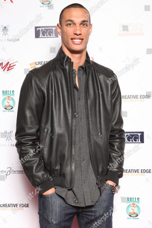 David Nelson, of the New York Jets, arrives at the 7th Annual Music Meets Couture fashion show presented by Creative Edge PR on Thursday, January, 30, 2014 at Maserati of Manhattan in New York