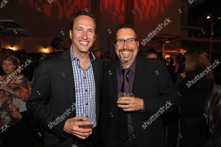 "AMC's Charlie Collier and executive producer John Shiban attend a special screening of the second season premiere of AMC's ""Hell on Wheels"" on in Beverly Hills, Calif"