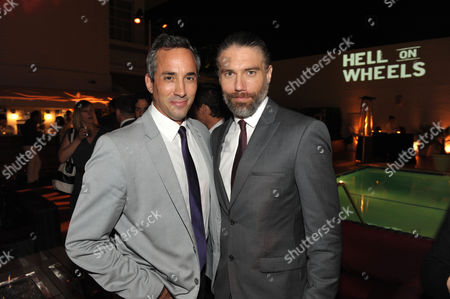 """Executive producer Jeremy Gold and actor Anson Mount attend a special screening of the second season premiere of AMC's """"Hell on Wheels"""" on in Beverly Hills, Calif"""