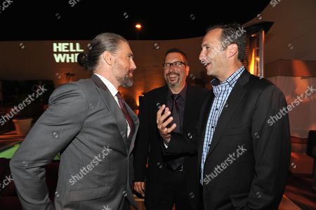 "Actor Anson Mount, executive producer John Shiban, and AMC's Charlie Collier attend a special screening of the second season premiere of AMC's ""Hell on Wheels"" on in Beverly Hills, Calif"