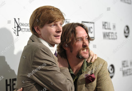 "Ben Esler and Phil Burke attend a special screening of the second season premiere of AMC's ""Hell on Wheels"" on in Beverly Hills, Calif"