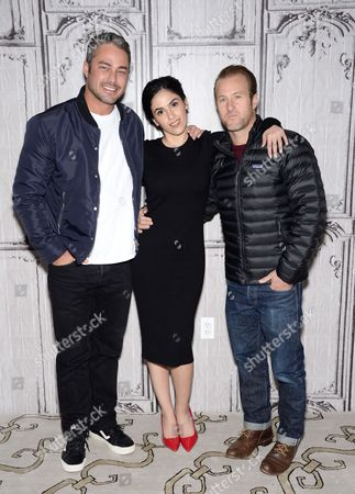 "Actors Taylor Kinney, from left, Leem Lubany, and Scott Caan participate in AOL's BUILD Speaker Series to discuss the new film ""Rock The Kasbah"" at AOL Studios, in New York"