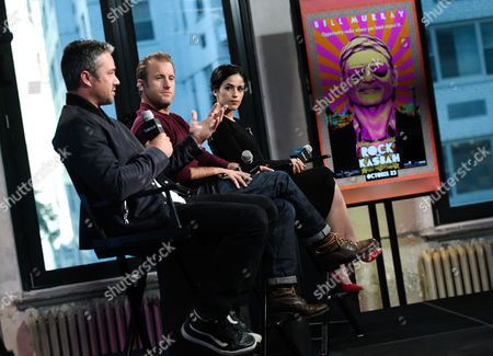 "Actors Taylor Kinney, left, Scott Caan, and Leem Lubany participate in AOL's BUILD Speaker Series to discuss the new film ""Rock The Kasbah"" at AOL Studios, in New York"