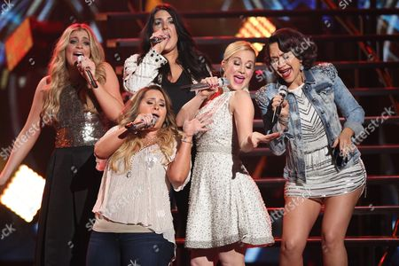 "Lauren Alaina, from left, Kree Harrison, Skylar Laine, Kellie Pickler and Diana DeGarmo perform at the ""American Idol"" farewell season finale at the Dolby Theatre, in Los Angeles"