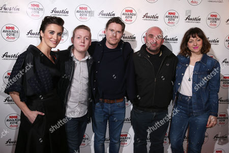 Actors from, left, Vicky McClure, Thomas Turgoose, Joe Dempsie, director Shane Meadows and actress Jo Hartley pose for photographers upon arrival at the NME 2016 music awards in London
