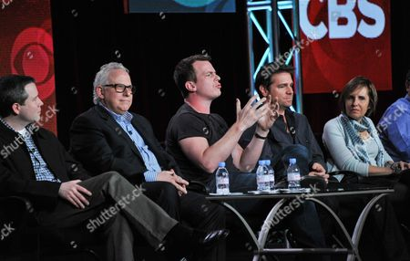 """From left, Rob Doherty, Gary Glasberg, Jonathan Nolan, Greg Plageman, and Michelle King participate in the """"Drama Showrunners"""" panel at the CBS Winter 2014 TCA Press Tour, Wed, in Pasadena, Calif"""