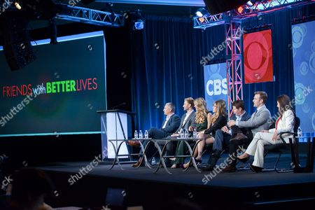 """From Left, Aaron Kaplan, Rick Donald, Brooklyn Decker, Majandra Delfino, Kevin Connolly, James Van Der Beek, and Dana Klein participate in the """"Friends With Better Lives"""" panel discussion at the CBS Winter 2014 TCA Press Tour, Wed, in Pasadena, Calif"""