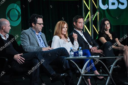 """From left, Tripp Vinson, Michael Seitzman, Marg Helgenberger, Josh Holloway, and Meghan Ory participate in the """"Intelligence"""" panel at the CBS Winter 2014 TCA Press Tour, Wed, in Pasadena, Calif"""