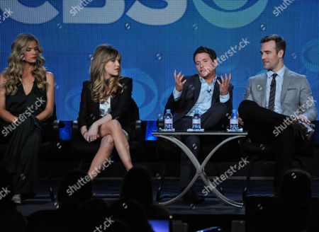 """From Left, Rick Donald, Brooklyn Decker, Majandra Delfino, Kevin Connolly, and James Van Der Beek participate in the """"Friends With Better Lives"""" panel discussion at the CBS Winter 2014 TCA Press Tour, Wed, in Pasadena, Calif"""