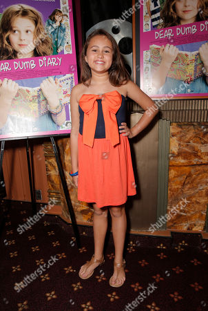 """Mary-Charles Jones attends the red carpet at the premiere of """"Dear Dumb Diary"""" at the Crest Theater on in Los Angeles"""