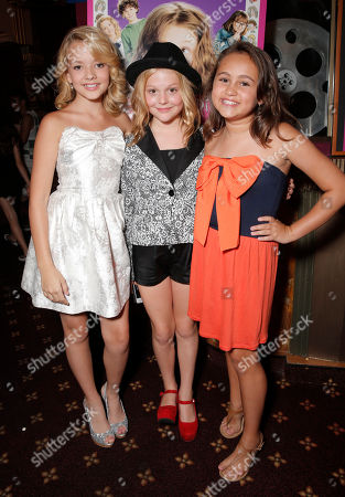 """Sterling Griffith, Emily Alyn Lind and Mary-Charles Jones attend the red carpet at the premiere of """"Dear Dumb Diary"""" at the Crest Theater on in Los Angeles"""