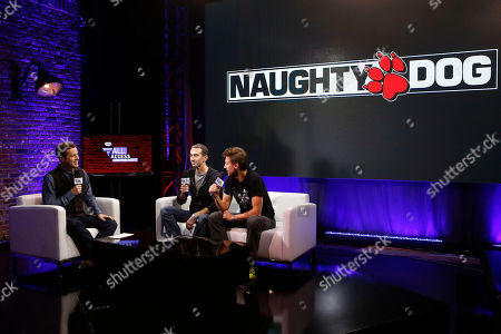 Founders of Naughty Dog present the next Uncharted game on PlayStation 4 with host Geoff Keighley during the PlayStation 4 launch event, in New York