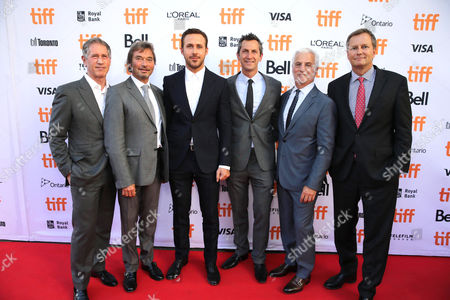 """Jon Feltheimer, Chief Executive Officer of Lionsgate, Patrick Wachsberger, Co-Chairman of Lionsgate Motion Picture Group, Ryan Gosling, Erik Feig, Co-President of Lionsgate Motion Picture Group, Rob Friedman, Co-Chairman of Lionsgate Motion Picture Group, and Michael Burns, Vice President of Lionsgate, seen at Summit Entertainment's """"La La Land"""" premiere at the 2016 Toronto International Film Festival, in Toronto"""