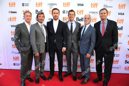 Jon Feltheimer, Chief Executive Officer of Lionsgate, Rob Friedman, Co-Chairman of Lionsgate Motion Picture Group, Ryan Gosling, Erik Feig, Co-President of Lionsgate Motion Picture Group, Patrick Wachsberger, Co-Chairman of Lionsgate Motion Picture Group, and Michael Burns, Vice President of Lionsgate, seen at Summit Entertainment's 'La La Land' premiere at the 2016 Toronto International Film Festival, in Toronto
