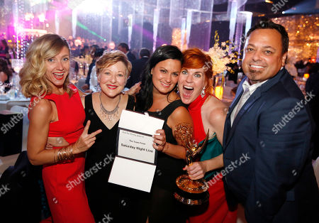 Stock Image of Cara Hannah, Inga Thrasher, Jodi Mancuso, Jennifer Serio, and Joe Whitmeyer attend the Governors Ball for the Television Academy's Creative Arts Emmy Awards at LA Convention Center, in Los Angeles
