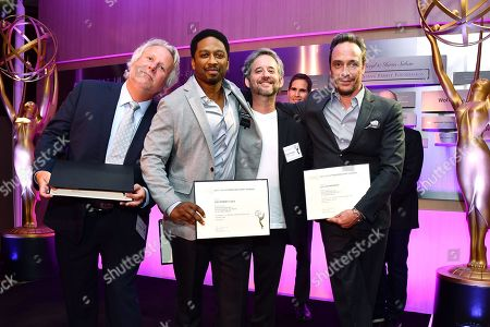 Larry Karaszewski, Joe Robert Cole, Scott Alexander, D.V. DeVincentis are seen at the Television Academy's 2016 Emmy Awards Writer's Nominee Reception at The Television Academy's Wolf Theatre on in North Hollywood, California