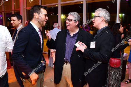 Peter Huyck, David Mandel and Dan O'Keefe are seen at the Television Academy's 2016 Emmy Awards Writer's Nominee Reception at The Television Academy's Wolf Theatre on in North Hollywood, California
