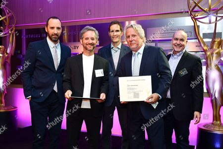 Tony Hale, Scott Alexander, Chip Johannessen, Larry Karaszewski and Terence Winter are seen at the Television Academy's 2016 Emmy Awards Writer's Nominee Reception at The Television Academy's Wolf Theatre on in North Hollywood, California