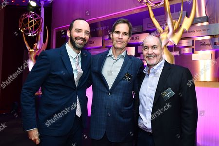 Tony Hale, Chip Johannessen andTerence Winter are seen at the Television Academy's 2016 Emmy Awards Writer's Nominee Reception at The Television Academy's Wolf Theatre on in North Hollywood, California