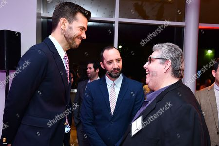 Peter Huyck, Tony Hale and David Mandel are seen at the Television Academy's 2016 Emmy Awards Writer's Nominee Reception at The Television Academy's Wolf Theatre on in North Hollywood, California