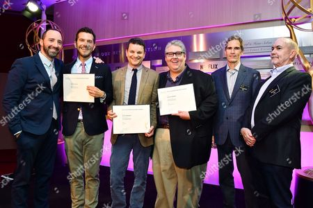 Tony Hale, Peter Huyck, Alex Gregory, David Mandel, Chip Johannessen andTerence Winter are seen at the Television Academy's 2016 Emmy Awards Writer's Nominee Reception at The Television Academy's Wolf Theatre on in North Hollywood, California