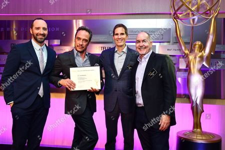 Tony Hale, D.V. DeVincentis, Chip Johannessen and Terence Winter are seen at the Television Academy's 2016 Emmy Awards Writer's Nominee Reception at The Television Academy's Wolf Theatre on in North Hollywood, California