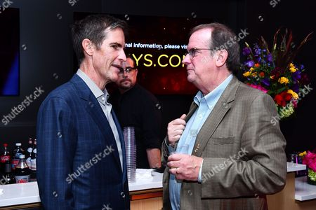 Governor Chip Johannessen (left) and Peter Hammond are seen at the Television Academy's 2016 Emmy Awards Writer's Nominee Reception at The Television Academy's Wolf Theatre on in North Hollywood, California