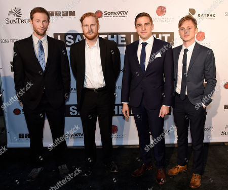 "Stock Picture of Actors Casey Bond, left, Wes Langlois, Michael Riane and Joshua Brady, right, attend the premiere of ""I Saw The Light"", in Nashville, Tenn"