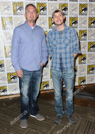 James Dashner, left, and Wes Ball attend the 20th Century Fox press line on day 3 of Comic-Con International, in San Diego