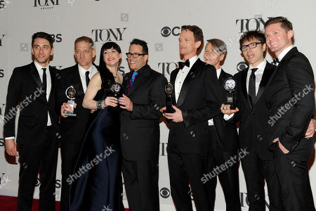 """Producer David Binder, Lena Hall, Director Michael Mayer, Neil Patrick Harris, John Cameron Mitchell, Stephen Trask, and cast and crew of """"Hedwig and The Angry Inch"""" pose in the press room at the 68th annual Tony Awards at Radio City Music Hall, in New York"""