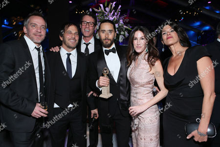 "Director Jean-Marc Vallee, Executive Producer Nathan Ross, Screenplay Writer Craig Borten, Jared Leto, Producer Rachel Winter and Producer Robbie Brenner seen at the 71st Annual Golden Globe Awards â?"" NBC/Universal/Focus Features/E! Entertainment/Chrysler After Party on in Los Angeles"