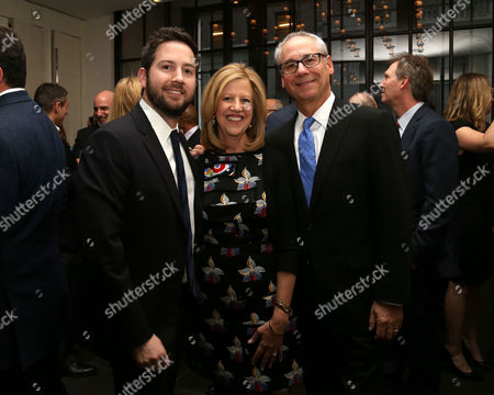 From left, David Tackel, Abbe Raven and husband Martin Tackel attend A+E Networks celebration of chairman emeritus Abbe Raven at the Andaz Fifth Avenue, in New York