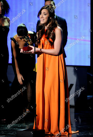 Mariana Vega accepts the award for best new artist at the 15th annual Latin Grammy Awards at the MGM Grand Garden Arena, in Las Vegas