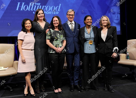 """Left to right, Janice Min, Geena Davis, Amy Miles, Paul Feig, Vanessa Morrison and Nina Jacobson pose together following the """"Driving Financial Success: Women + Movies = Bigger Box Office"""" luncheon at CinemaCon 2013 at Caesars Palace on in Las Vegas"""