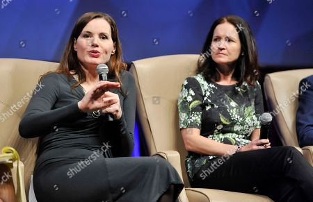 """Actress Geena Davis, left, and Amy Miles, CEO of Regal Entertainment Group, take part in the """"Driving Financial Success: Women + Movies = Bigger Box Office"""" luncheon at CinemaCon 2013 at Caesars Palace on in Las Vegas"""